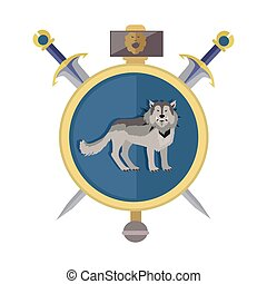 Grey Wolf in Gold Circle. Game Object - Grey wolf in gold...