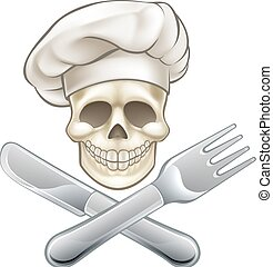 Pirate Crossbones Chef Cartoon - Cook cartoon pirate skull...