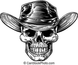 Skull Cowboy Hat Drawing - Skull cowboy drawing in a vintage...
