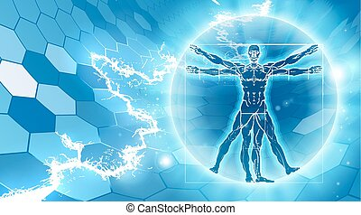 Vitruvian Man Hexagon Background - Vitruvian man hexagon...