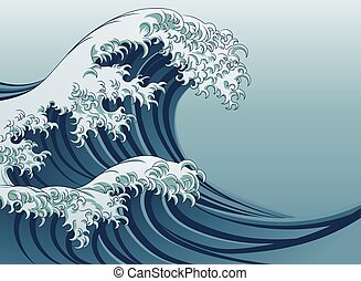 Great Wave - An oriental Japanese style great wave in a...