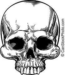 Skull Vintage Retro Woodcut Etched Engraved Style - Skull in...
