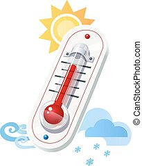 Thermometer show temperature and weather icons. Sun. Wind....