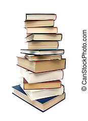 stack of different books isolated on white background. vertical photo.