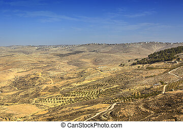 Panoramic view of Mount Nebo on the land of promise