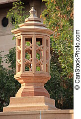 Carved Stone Lamp Post - Lamp post carved in stone on the...