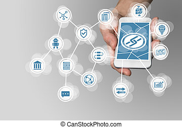 Blockchain concept with hand holding modern smart phone as...