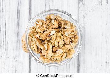 Portion of Walnut kernels - Walnut kernels on a vintage...