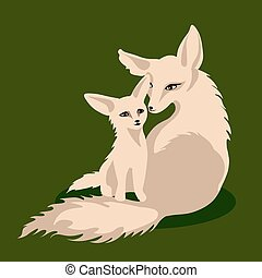 Vector illustration of a fox family - Vector mother fox and...