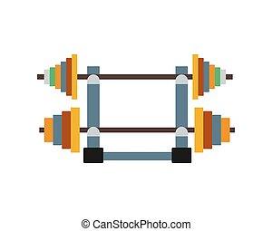 Barbell vector illustration. - Set of vintage gym barbell...