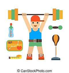 Fitness gym club vector icons. Athlet and sport activity...