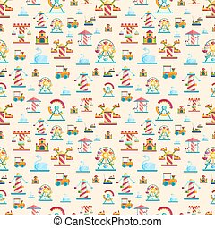Attraction seamless pattern vector cute style illustration....