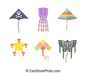 Kite icon - Kites icon. Flying fun air art retro fabric...