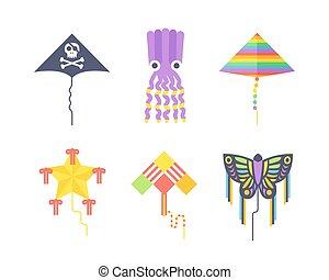 Kite icon - Kites icon. Flying fun air art retro fabric...