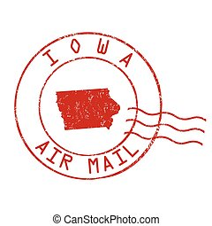 Iowa post office sign or stamp - Iowa post office, air mail,...