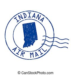 Indiana post office sign or stamp - Indiana post office, air...