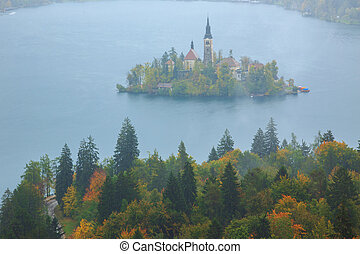 Bled with lake, island and mountains in background, Slovenia...