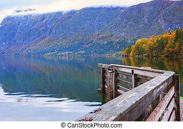 Beautiful autumn scenery at lake Bohinj, Triglav National...