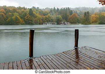 Autum forest lake Kozjak in Plitvice National Park in...