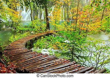 Wooden tourist path in Plitvice lakes national park - Rainy...