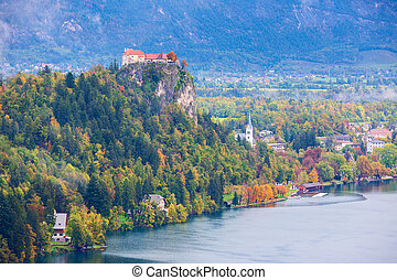 Bled Castle with Lake Bled, Slovenia - Famous medieval Bled...