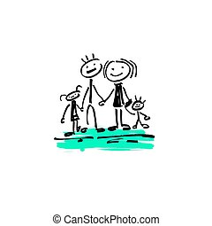 drawing sketch doodle human stick figure happy family - hand...