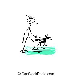 sketch doodle human stick figure man walking with a dog -...