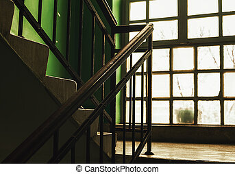 Old Building Stairways And Window