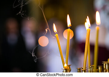 Candlelight in christian church