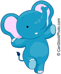 Cute Elephant with Clipping Path