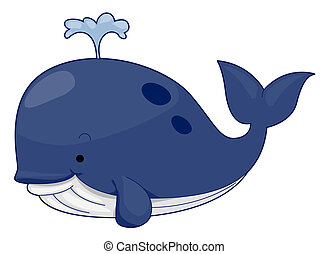 Cute Whale with Clipping Path
