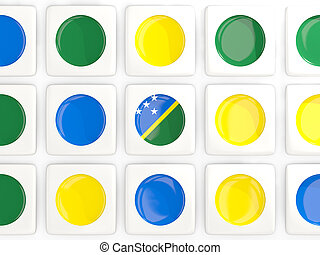 Mosaic background with flag of solomon islands. 3D...