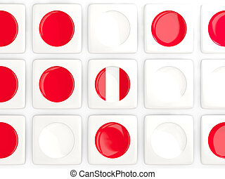 Mosaic background with flag of peru. 3D illustration