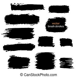 black vector brush strokes of paint
