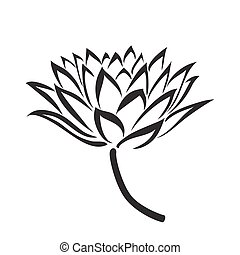 Floral Water Lily. Vector line style - Floral Water Lily for...