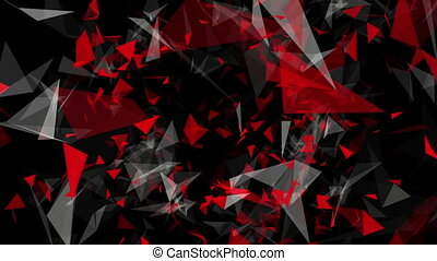 Rotating triangles in white and red on black