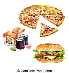 Set of watercolor fast-food with Burger, Sushi, Pizza pieces...