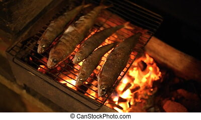 Fish baked on the grill.