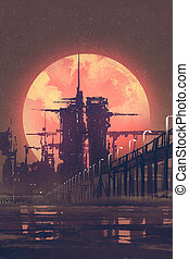 futuristic city with red planet on background - night...