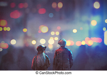 couple in love walking on street of city at night - back...