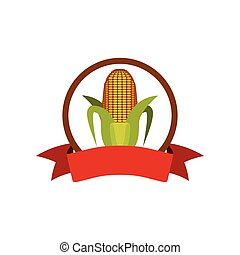 label silhouette colorful with corn vector illustration