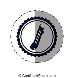 middle shadow sticker with circular frame with cutter vector...