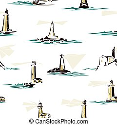Seamless pattern of cartoon lighthouses. - Seamless...
