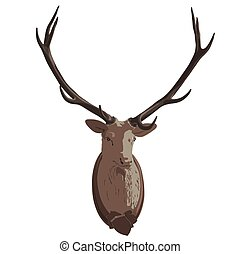 Mounted deer head. Stuffed stag, monumental antlers. Hunting...
