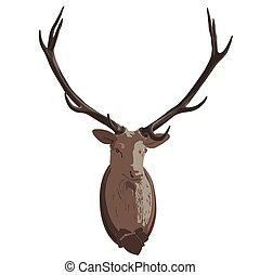 Mounted deer head. Stuffed stag, monumental antlers. Hunting...