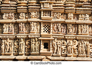 Detail of artwork at the Khajuraho temple on India