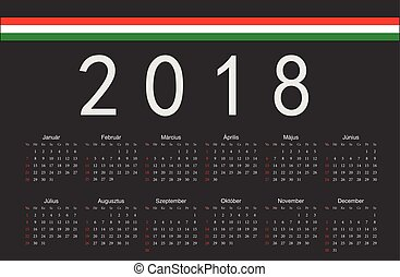 Hungarian black 2018 year vector calendar - Simple black...