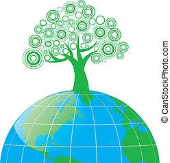 stylized tree on the globe