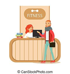 Fitness Club Reception Counter With Female Receptionist And Computer With Club Member Visiting