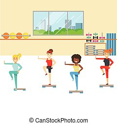 Aerobics Class With Step Equipment , Member Of The Fitness...